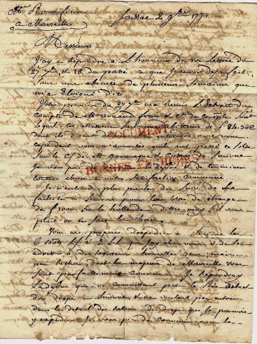 Lettre comm par benazet negociant a saissac pour roux freres armateurs marseille 1771 1