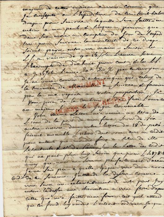 Lettre comm par benazet negociant a saissac pour roux freres armateurs marseille 1771 2