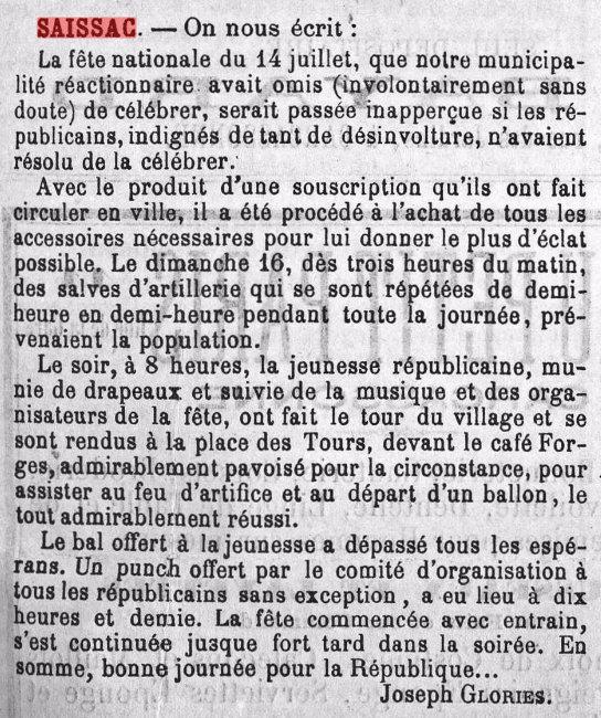 Quand la municipalite ne voulait pas celebrer le 14 juillet dans le rappel de l aude du 22 juillet 1893